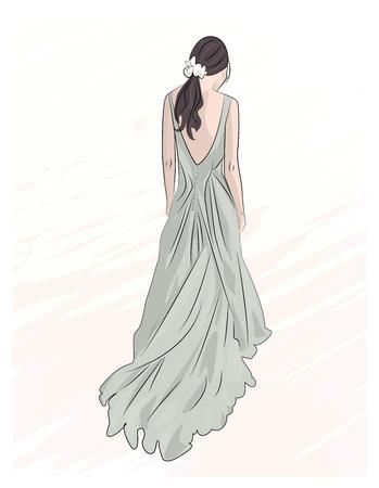 chica en la boda de noche largo del vestido maxi ilustración, dibujo
