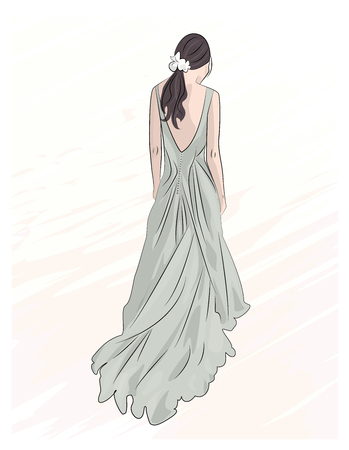 wedding dress back: girl in evening wedding long maxi dress illustration drawing