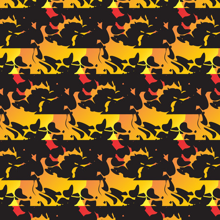 horisontal: pattern yellow red black leaves waves seamless bright texture