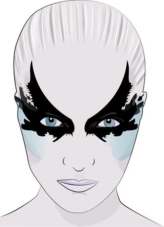 fashion portrait: fashion makeup girl face illustration beauty avatar mask Illustration