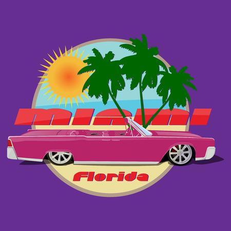 cabriolet: Miami car cabriolet  print pink