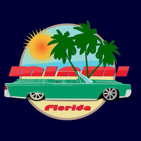 cabriolet: Miami car cabriolet  print green