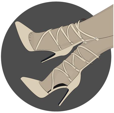Pompe Laceup scarpe tacco illustrazione di moda