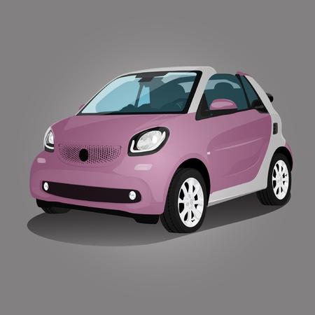 rose véhicule compact illustration voiture auto Vecteurs