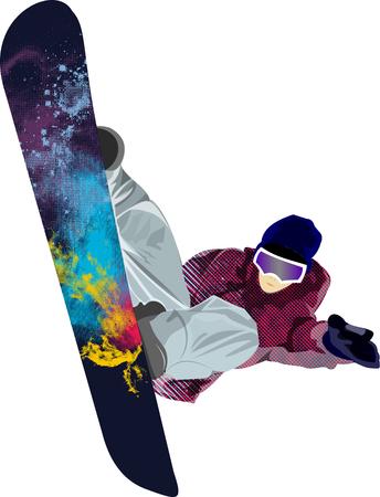 snowboarder: Snowboarder jumping pose winter people tricks illustration