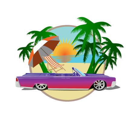 alte Schule Auto cablet Palmen Strand Sonne