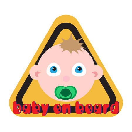 forewarning: Baby on board sign yellow background.