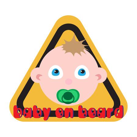 bebe a bordo: Bebé a bordo de signo fondo amarillo.