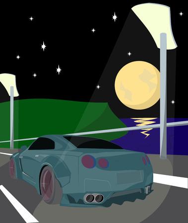 enforcer: Illustration car in the middle of road bridge night Illustration