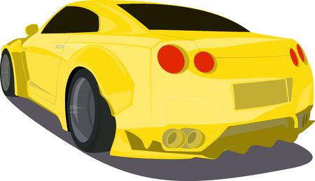 luxo: Carro desportivo dos desenhos animados ouro de volta visualizar ilustra Ilustração
