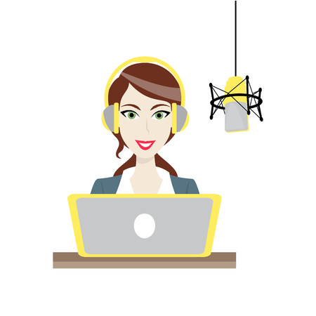 radio station: Illustration of a Female brown-haired Disc Jockey work in radio station