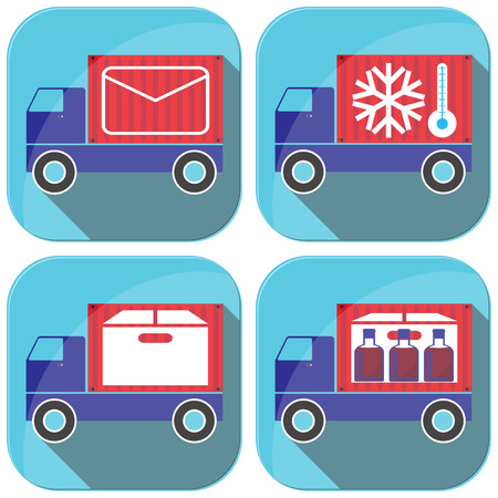 Cargo transportation by road. Style icons and illustration. Illustration