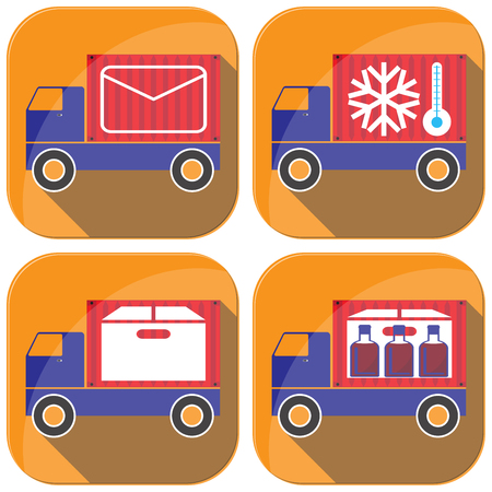 driving range: Cargo transportation by road. Style icons and illustration. Illustration