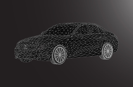 lux: black lowpoly car lux design illustrstion line
