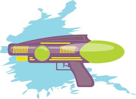 colorful water gun kids toy cartoon illustration Illustration