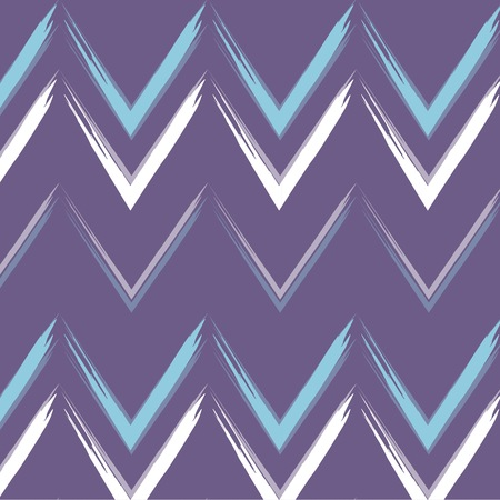 dekor: Vector chewron print violet line waves geometric symmetric horiizontal pattern, modern cover with white blue curves background. Zig zag dekor ornament