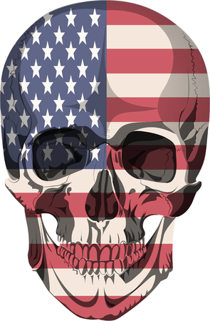 ossa del cranio scheletro umano morto anatomia illustrazione Flag USA