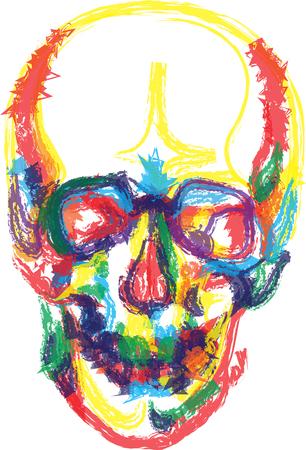colori ossa del cranio scheletro umano morto l'illustrazione di anatomia