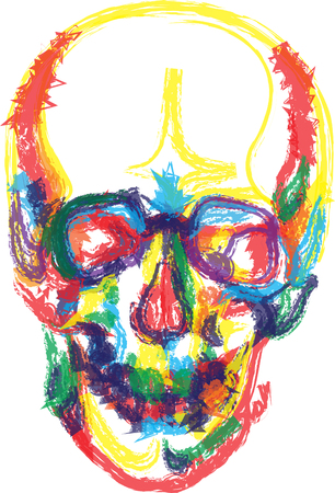 Colors Human Skull Bones Skeleton Dead Anatomy Illustration Royalty