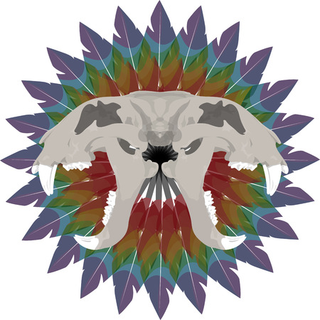Los huesos de tigre cráneo esqueleto anatomía ilustración muerta de impresión Ilustración de vector
