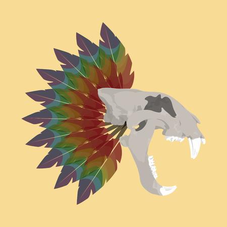 leon de dibujos animados: Los huesos de tigre cráneo esqueleto anatomía ilustración muerta de impresión