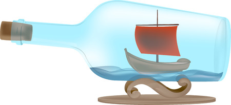 schooner: Cartoon boat in the bottle on the waves red sail illustration