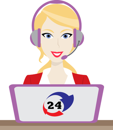 phone time: 24h all the time customer support center via phone mail operator service icons concept illustration