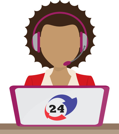 customer service phone: customer support center via phone mail operator service icons concept illustration