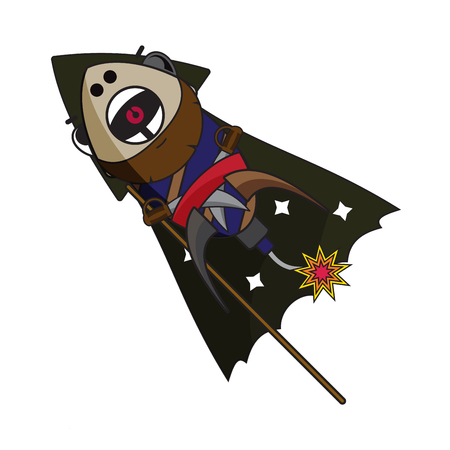fire crackers: fireworks pirate with angry facial expression illustrator