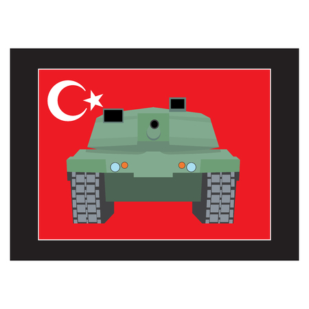 turkish flag: Turkey military coup. Military equipment. Tank against the background of Turkish flag