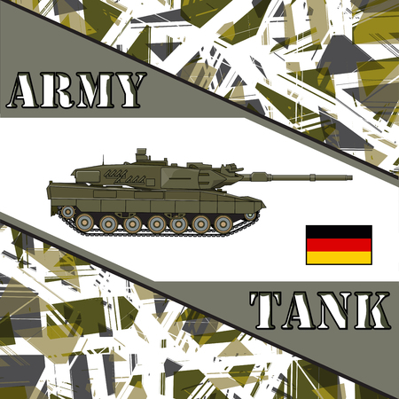 allies: Military tank german army. Armur vehicles illustration
