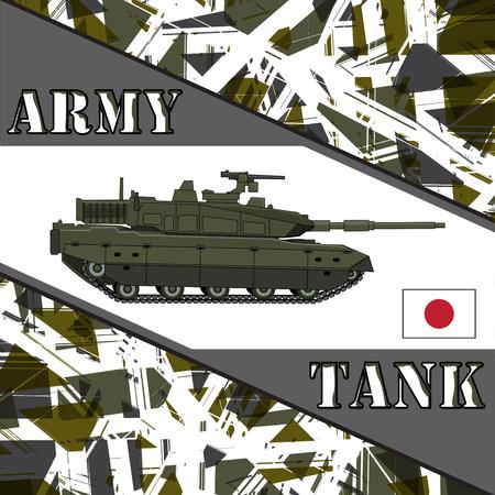 allied: Military tank japan army. Armur vehicles illustration