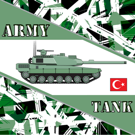 battlefield: Military tank turkey army. Armur vehicles illustration