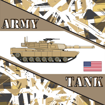 Military tank american army. Armur vehicles illustration