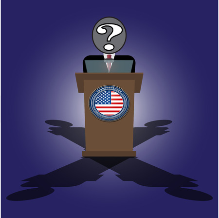 president of the usa: Vector Cartoon Illustration of election race in usa. A speech on the podium unknown personality of President Illustration