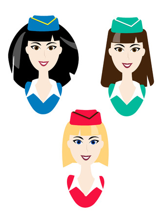 Vector stewardess icons. Simple air hostess avatar. Blonde, brunette, ginger woman in uniform. Elegant characters