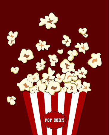 overflowing: Popcorn exploding inside the red white striped packaging. Vector cinema food. Container with red overflowing maize