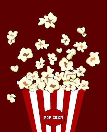 Popcorn in der rot weiß gestreiften Verpackung explodiert. Vector Kino Essen. Container mit roten überquell Mais Vektorgrafik