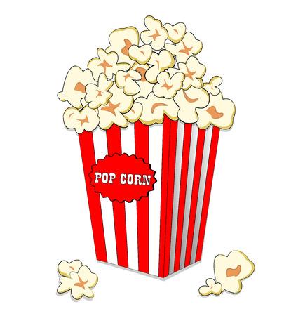 大きなストライプ紙箱のポップ コーン。高速映画食事。白の解像度でポップコーン バケツに隔離されたホワイト バック グラウンド 写真素材 - 61123992