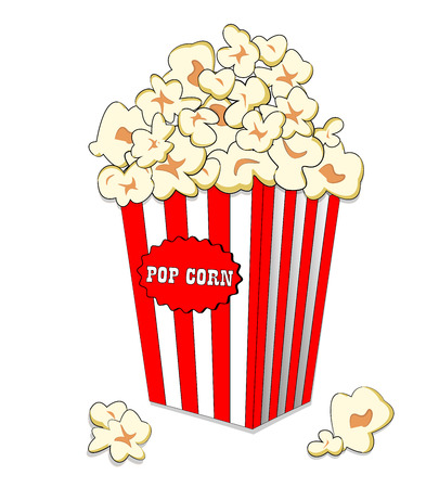 Pop corn in large striped paper box. Fast cinema meal. Popcorn in white res bucket isolated on white background