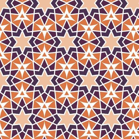 estrellas moradas: Vector mosaic orange purple stars. Repetition geometric background. Ornate violet triangle texture print. Vectores