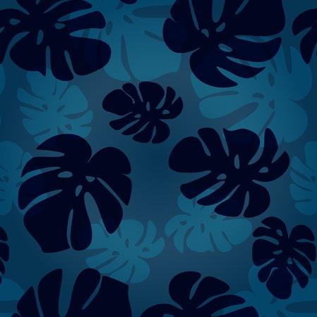 monstera leaf: Vector monstera leaf pattern. Vector tropical summer illustration. Fashion vintage summer wallpaper Hawaiian blue backdrop.