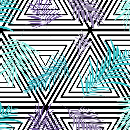 Vector palm leaves on monochrome triangle background. Repetition botanical pattern. Blue purple texture black white Illustration