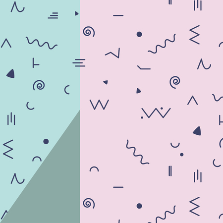 Vector simple icons 80s, 90s retro style. Wave line dot triangle signs. Modern hipster geometric flat design. Textile pattern, 2 shapes pink green