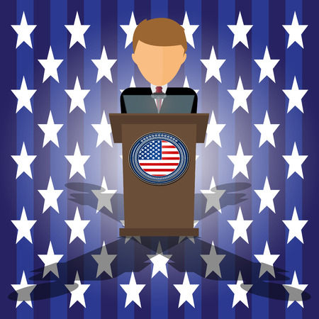 patriot act: Vector Cartoon Illustration of election race in usa. Presidential candidate speaks to people from tribune. Flat tribune Icon web