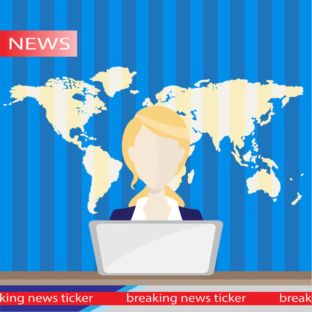 fm: Anchorman on tv broadcast news. Anchorman flat vector illustration. Anchorman with the release of breaking news. Illustration