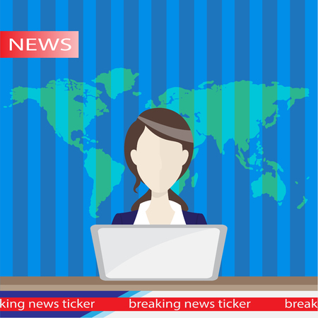newsreader: Anchorman on tv broadcast news. Anchorman flat vector illustration. Anchorman with the release of breaking news. Illustration