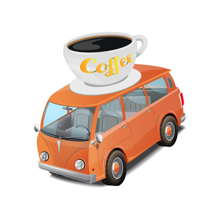 Car coffee fast food truck vector illustration on white background
