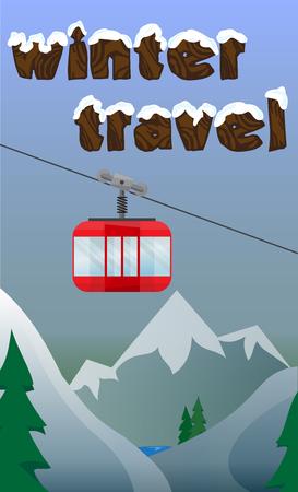 hospedaje: bandera de esquí con ascensor, el esquí, el snowboard, montañas, sobre un fondo azul. Fondo, tarjeta postal con cablecarril en los Alpes Vectores