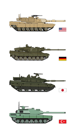 allied: Collection Military Transportation of design vector tanks Illustration